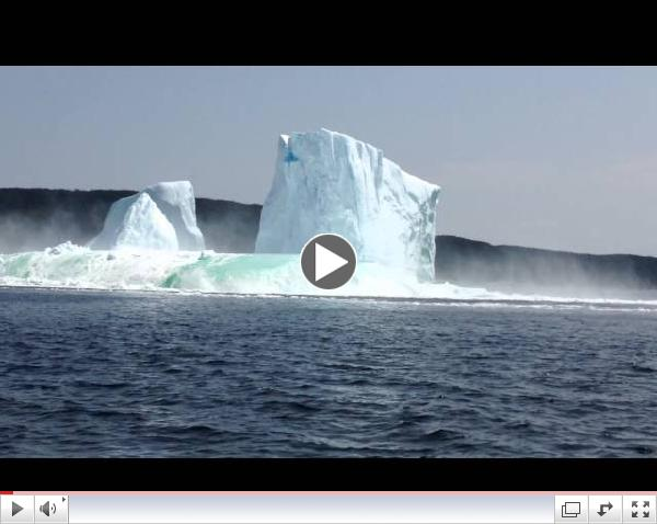 Video 4 of 5:  Iceberg collapse in Bay of Exploits, Newfoundland, Canada