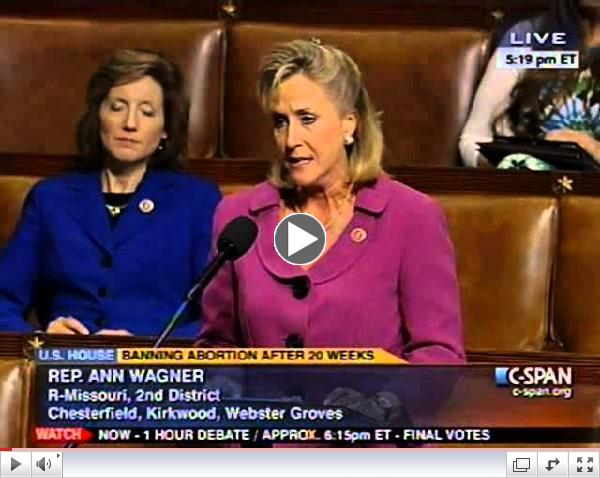 Rep. Wagner Speaks in Support of Pro-life Legislation