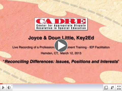 FIEP Training: Reconciling Differences: Issues, Positions and Interests