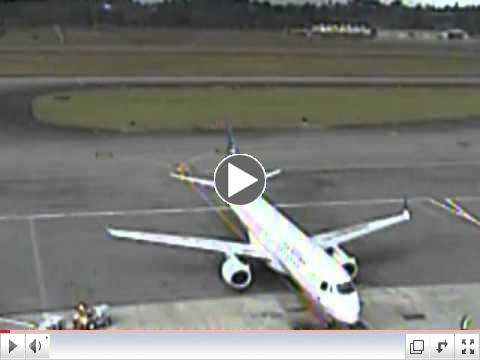 Copa Airlines Embraer 190 airplane lightning strike at the gate blowing off a hubcap