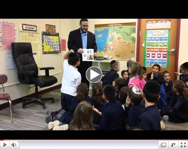 Rabbi Yolkut explains the halachot and originas of etrogim to the Hillel Academy third graders.