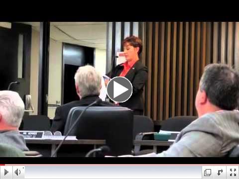 Mary Ann Spanos answers questions for Chautauqua County Legislators.