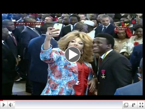 The Lions each received the Knight of the Cameroon Order of Valor. The First Lady took a Selfie with Ondoa