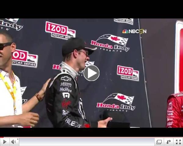 IndyCar Driver Sebastien Bourdais Drops Trophy, Hilarity Ensues