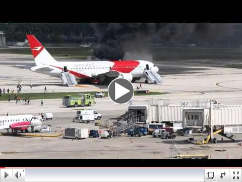 Plane catches fire on runway at Fort Lauderdale airport