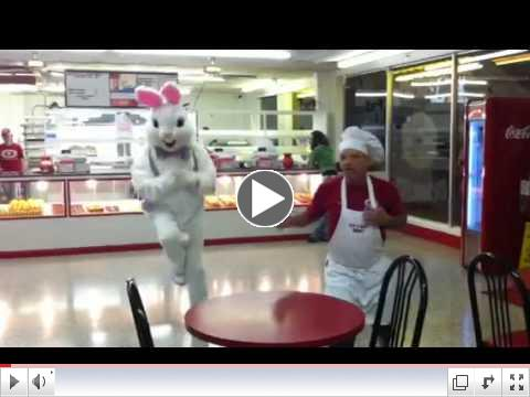Easter Bunny visits Meche's Donuts in New Iberia