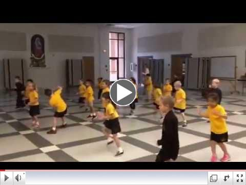 Kindergartners learn a FUN dance in PE!