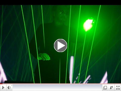 Jean-Michel Jarre performs on the laser harp live in concert.