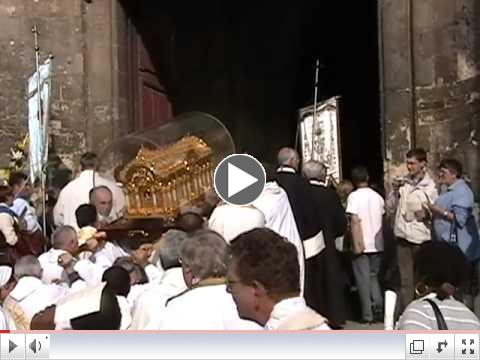 Reliquary is carried into St. Pierre's Cathedral at Lisieux