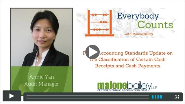 Classification of Certain Cash Receipts and Cahs Payments