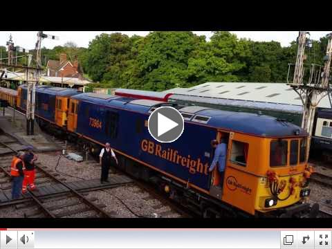 Martin Lawrence's video shows the delivery of ballast to Horsted keynes on 26 Sept., 2016. Great to see such a train on Bluebell steel!