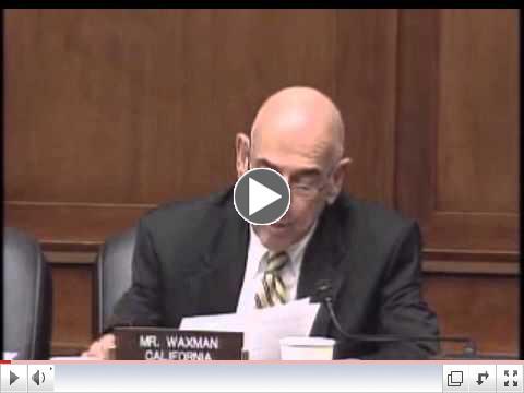 E & C Ranking Member Henry Waxman Subcommittee Hearing on Examining Need for TSCA Reform