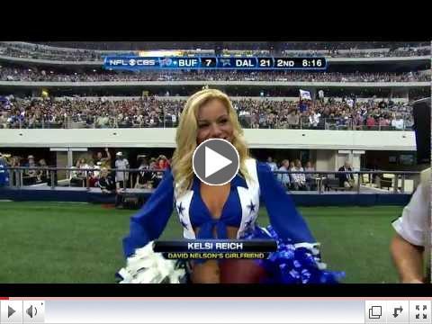 David Nelson Scores Touchdown & Gives Ball To Cowboys Cheerleader Girlfriend (11/13/11)