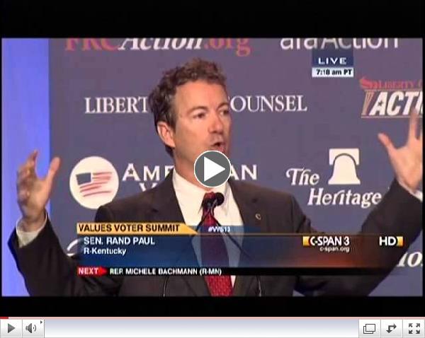 Sen. Paul Speaks at Values Voter Summit- October 11, 2013