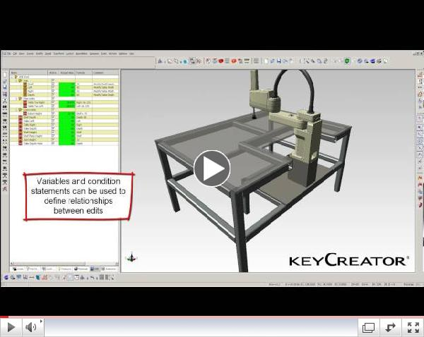 Direct-dimension editing tree (DDE tree) in KeyCreator Direct CAD