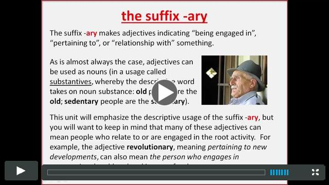 The suffix ARY