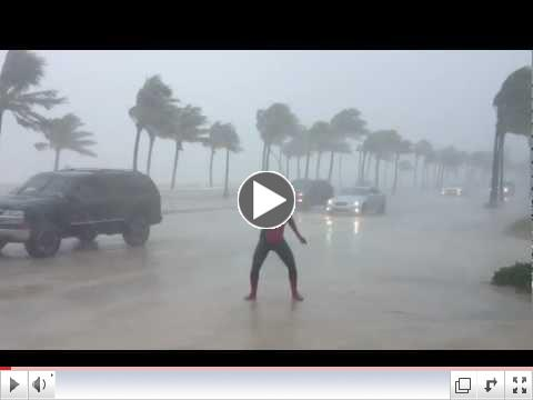 Spider-Man vs. Hurricane Isaac on Fort Lauderdale Beach (Part 2)