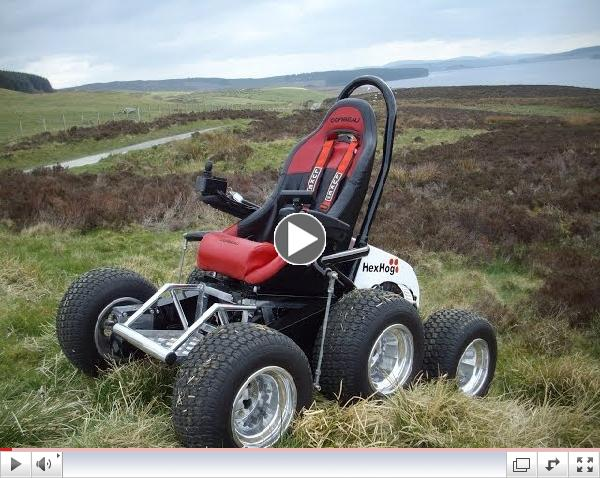 Check out this bad boy. Introducing the Hexhog All-Terrain Wheelchair!
