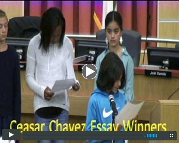 BUSD Board Meeting May 20 2015 Chavez Essay Contest