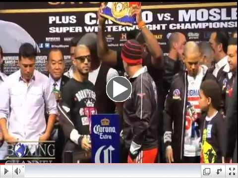 Mayweather-Cotto weigh-in produces dramatic staredown