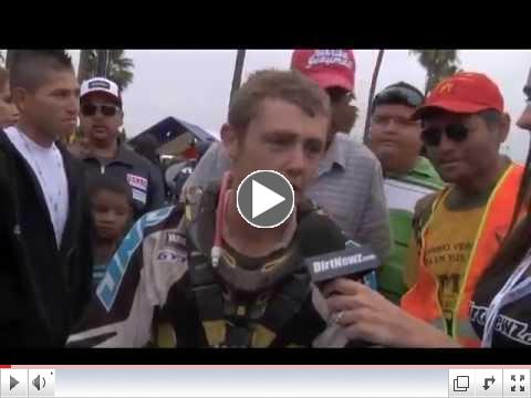 Josh row interviewed after crossing the finish line in first place at the 2012 baja 500