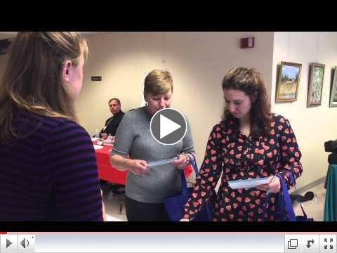 WCFLS staffer Julia tells Wellness Fair attendees about Gale Courses
