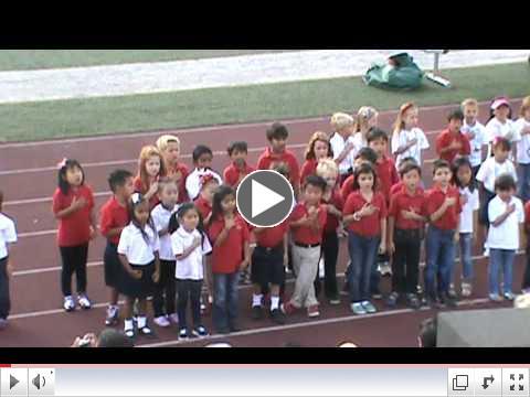 Fairmont North Tustin JK & K Singing National Anthem 2012