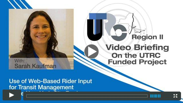 Video Briefing on the UTRC Research Project: Co-monitoring for Transit Management