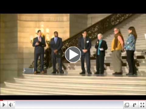 video of award winners on the steps of city hall