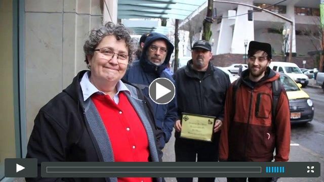 Scrooge of Year Award delivery to KOIN TV