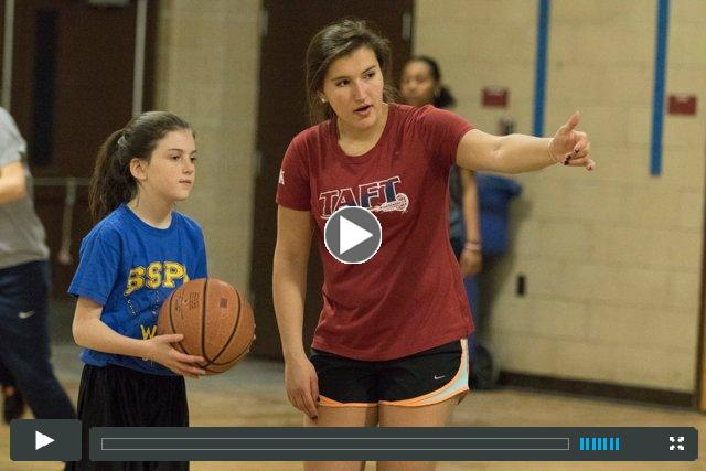 Girls' Basketball holds a skills clinic for the Waterbury Police Athletic League (PAL)