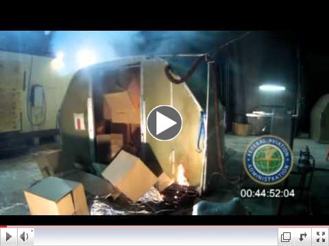 FAA video of lithium ion batteries on fire under FRC