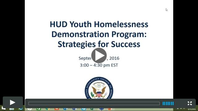 Strategies for Success for the HUD Youth Homelessness Demonstration Program NOFA