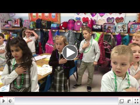 KA sings the National Anthem each morning!