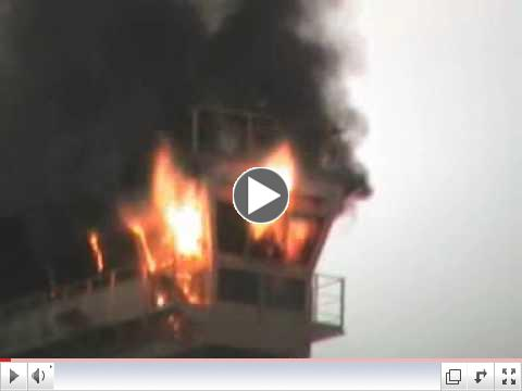 Emma Maersk, World's Largest Container Ship, On Fire