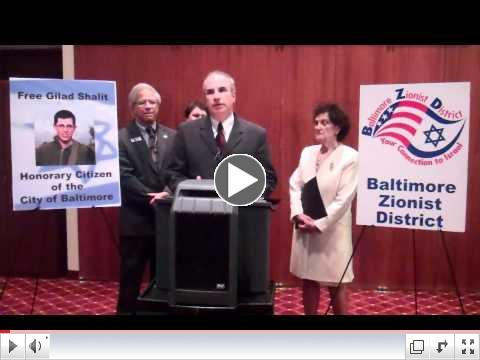 Gilad Shalit is made Honorary Citizen of Baltimore