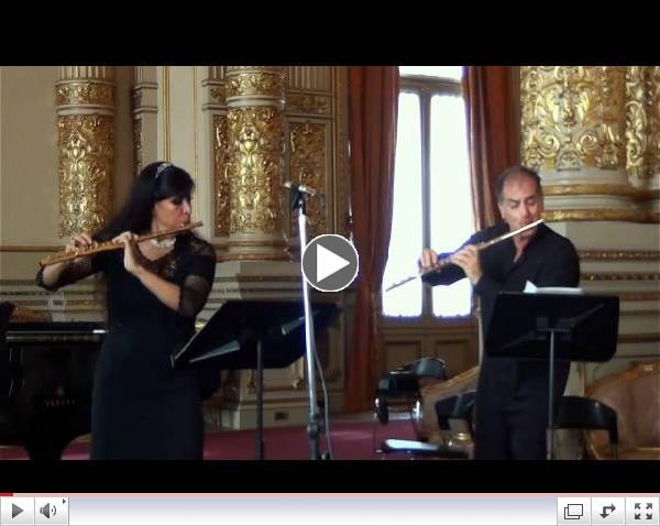 Johann Sebastian Bach Invention  # 1 in C Major BWV 772   Claudio Barile  and Viviana Guzman, flutes