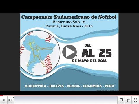 Gm 1. Brazil v Colombia - U-18 Women's South American Softball Championship 2018