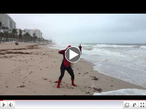 Spider-Man vs. Hurricane Isaac on Fort Lauderdale Beach (Part 1)