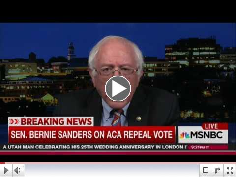 Bernie Sanders on ACA Repeal Vote