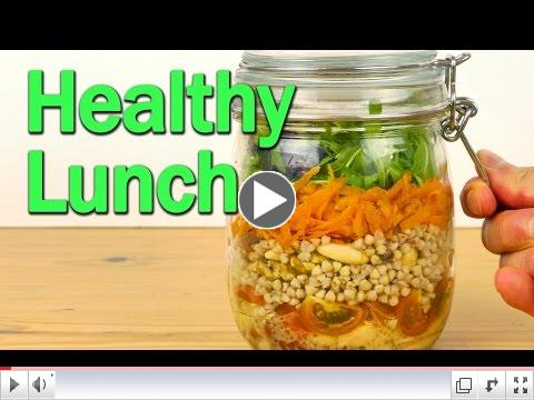 Make a nice healthy salad jar to take to work for your lunch!. Layer the produce in the right order so you can prepare two or three salads in advance without the produce getting soggy or bruised.