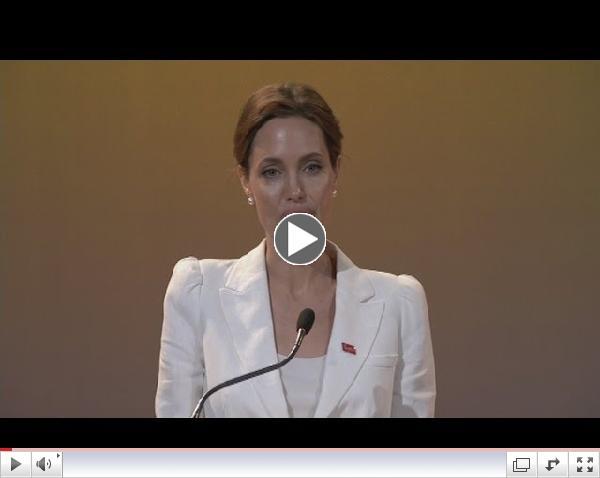 Ræða Angelinu Jolie á fundinum í Lundúnum í gær/ ITV