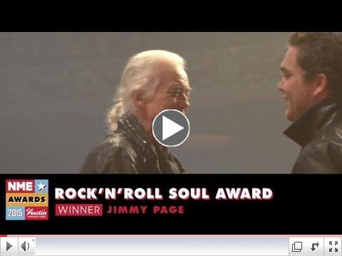 NME Awards 2015 With Austin, Texas: Jimmy Page Accepts Award For Rock 'n' Roll Soul Award