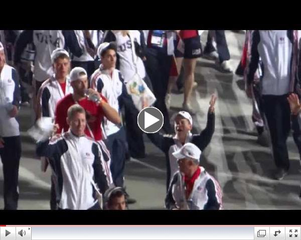 TeamUSA marching at the Opening Ceremony of the 19th Maccabiah games in Jerusalem
