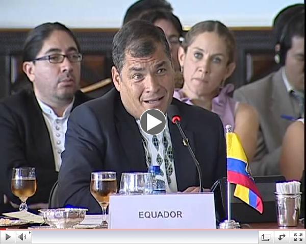 Fortaleza, Brasil, 16 de julio del 2014: Rafael Correa en la VI Cumbre de los BRICS.