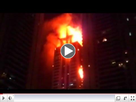 Dubai building on fire near Burj Khalifa