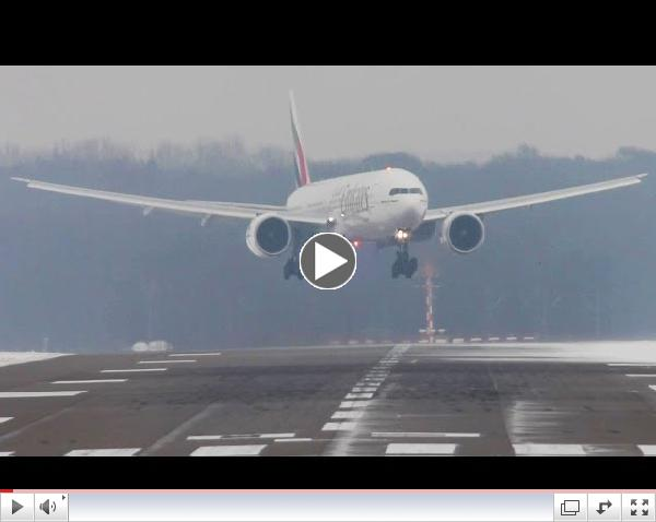 Crosswind Landings during a storm at D??sseldorf on an icy runway. Boeing 777, Airbus A340, A330